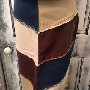 Vintage patchwork stretchy corduroy skirt